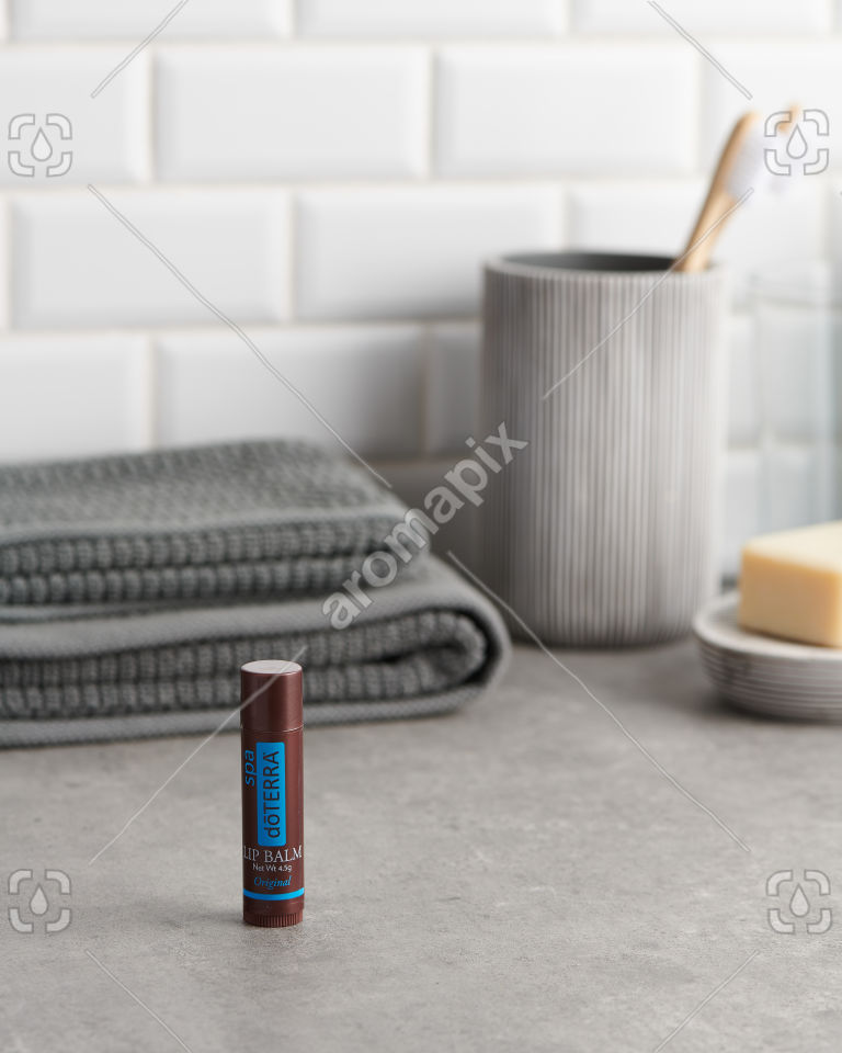 doTERRA Spa Original Lip Balm in the bathroom