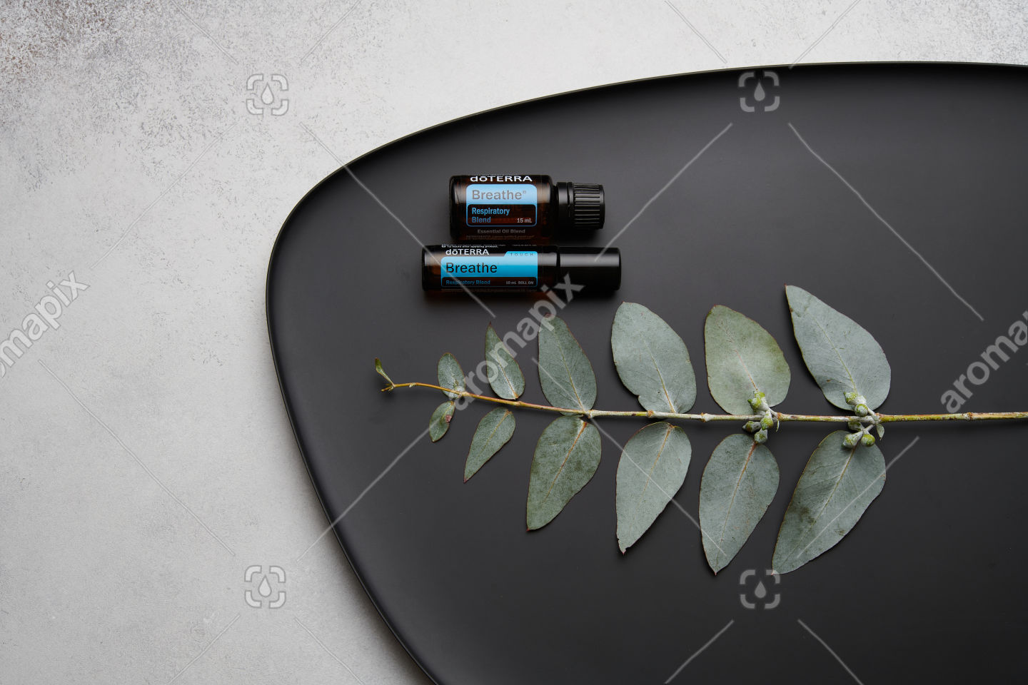 doTERRA Breathe, Breathe Touch and eucalyptus leaves on black plate