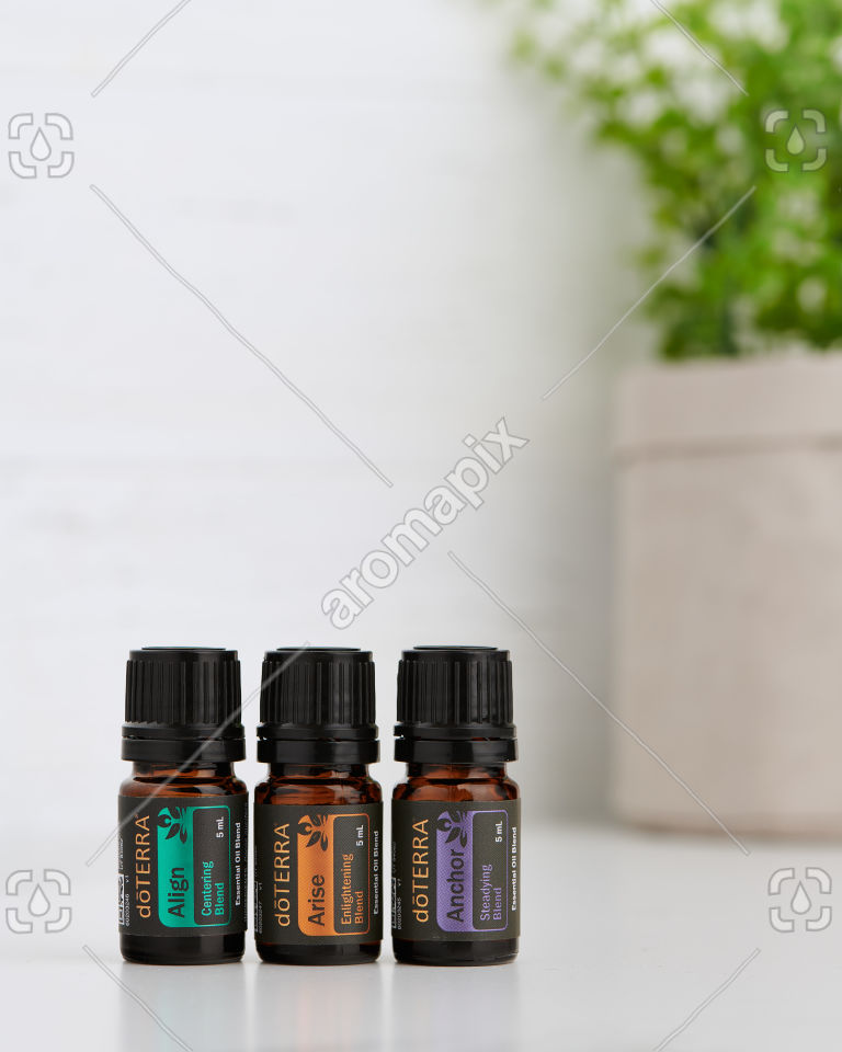 doTERRA Yoga Collection of Align, Arise and Anchor on a benchtop.