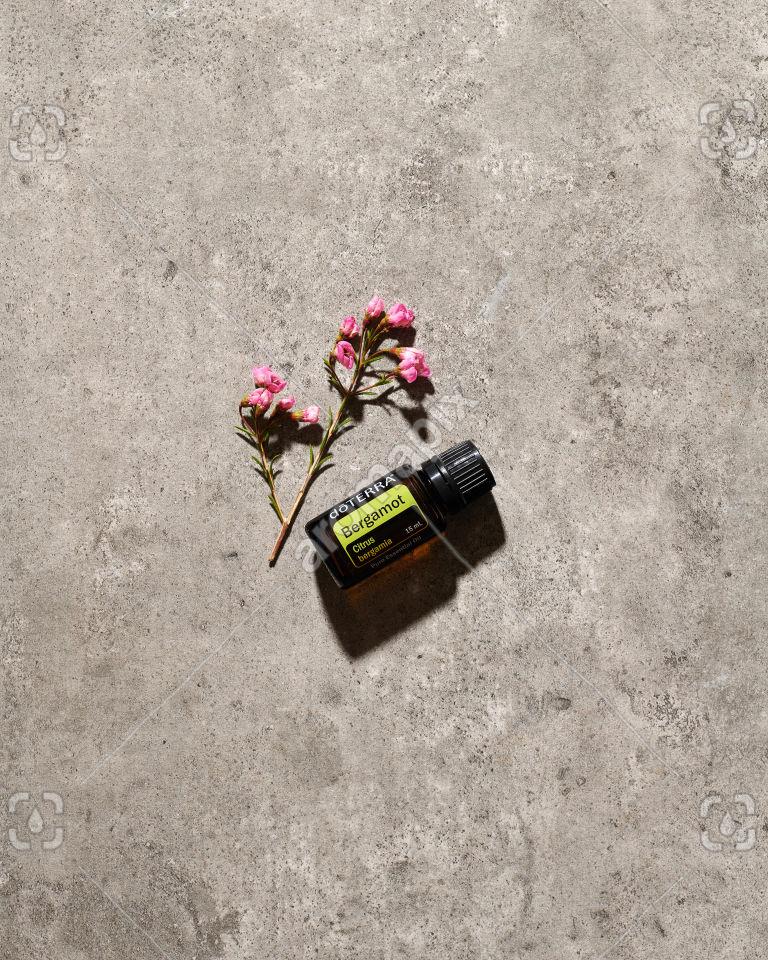 doTERRA Bergamot essential oil in sunlight