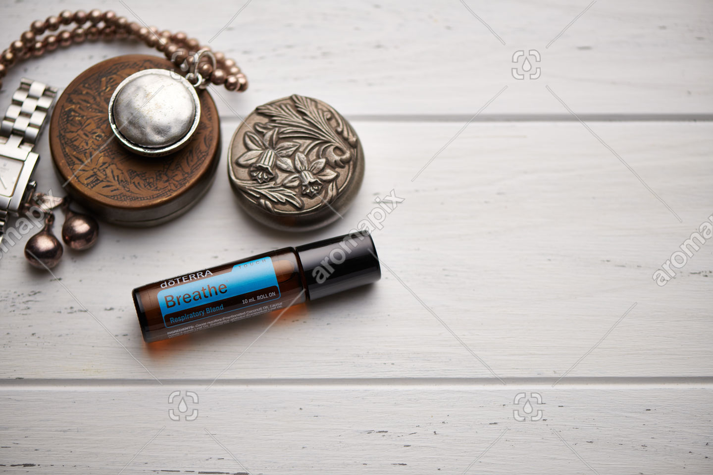 doTERRA Breathe Touch on rustic background