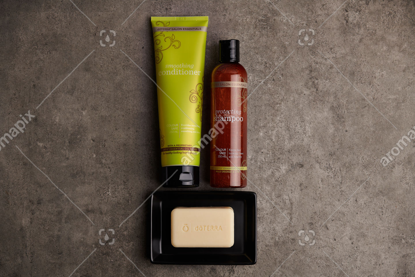 doTERRA Salon Essentials Shampoo and Conditioner on a bathroom bench