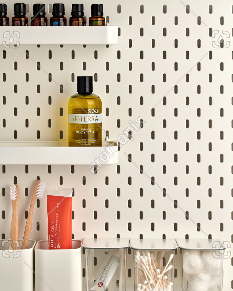 doTERRA Spa Refreshing Body Wash on bathroom shelf