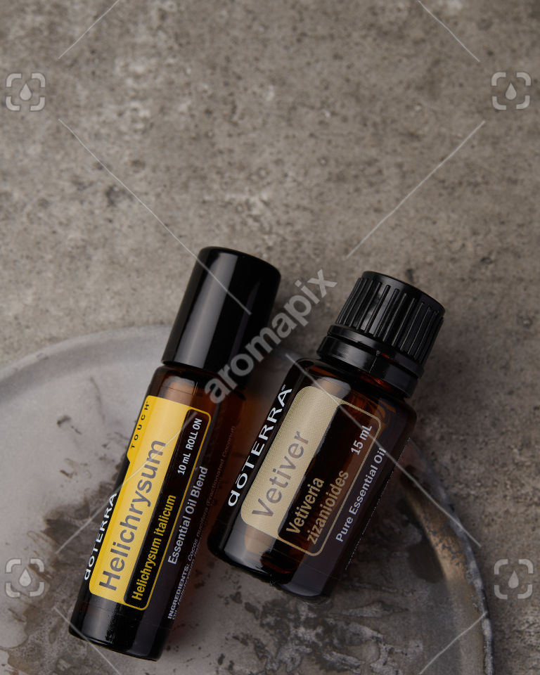 doTERRA Helichrysum Touch and Vetiver on gray