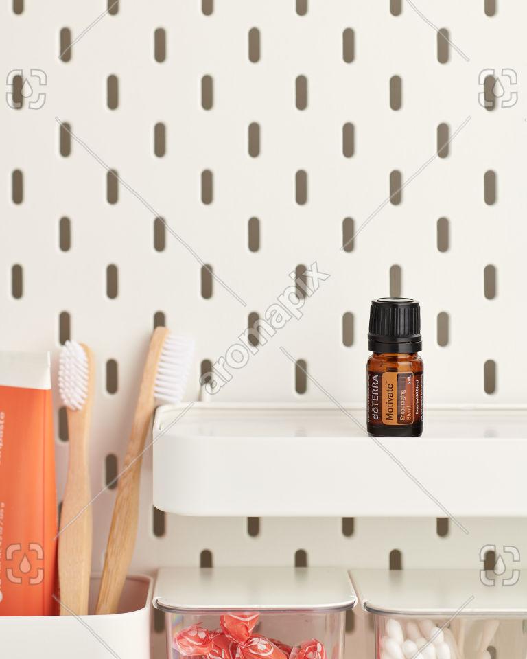 doTERRA Motivate on a bathroom shelf