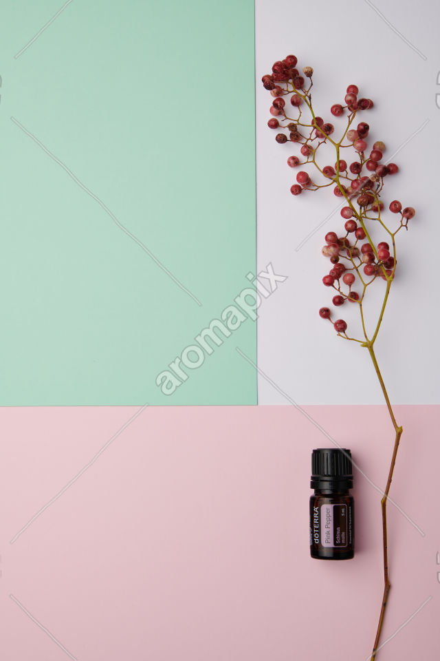 doTERRA Pink Pepper and pink peppercorn on a pink, green and white background