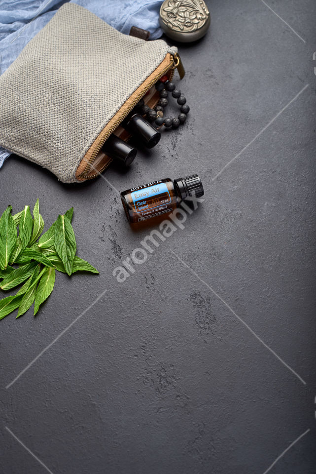 doTERRA Easy Air with mint leaves on black