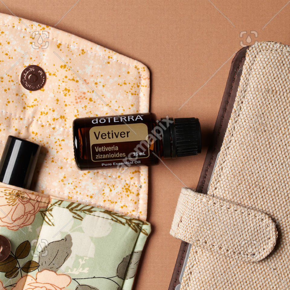 doTERRA Vetiver with accessories on brown