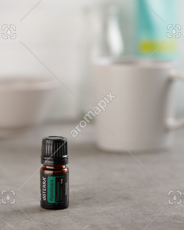 doTERRA Ravintsara on a stone bench