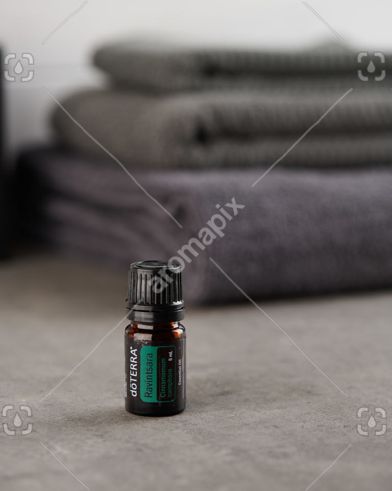doTERRA Ravintsara on a bathroom bench