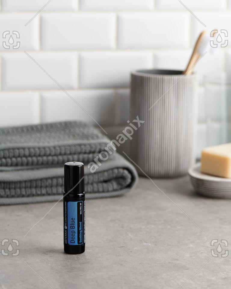 doTERRA Deep Blue Roll On in the bathroom