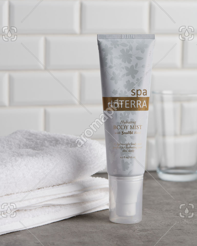 doTERRA Spa Hydrating Body Mist with Beautiful Blend on a bathroom bench