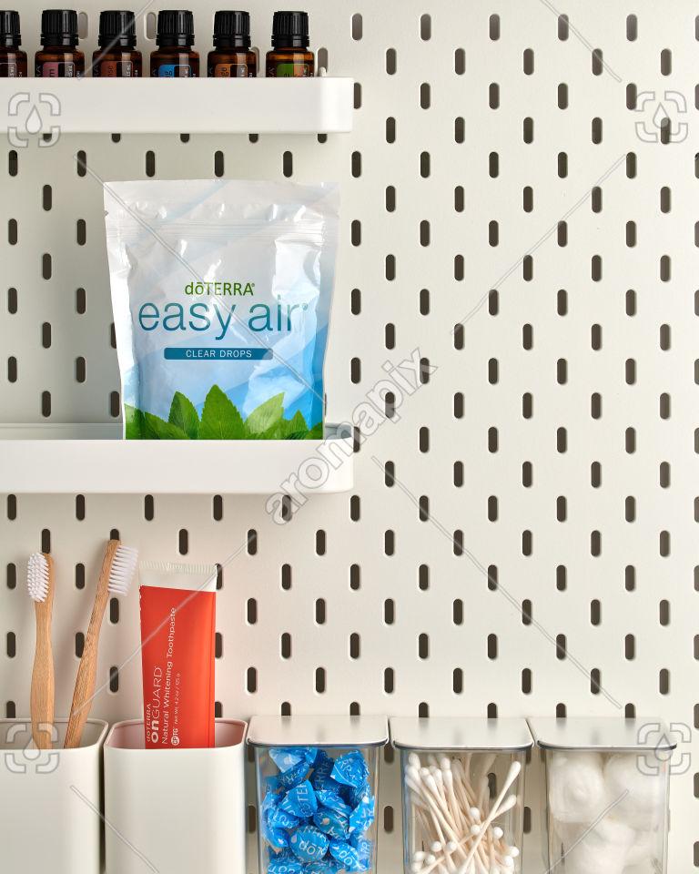 doTERRA Easy Air Clear Drops on bathroom shelf