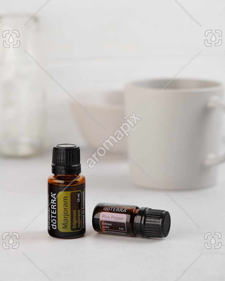 doTERRA Marjorman and Pink Pepper on white