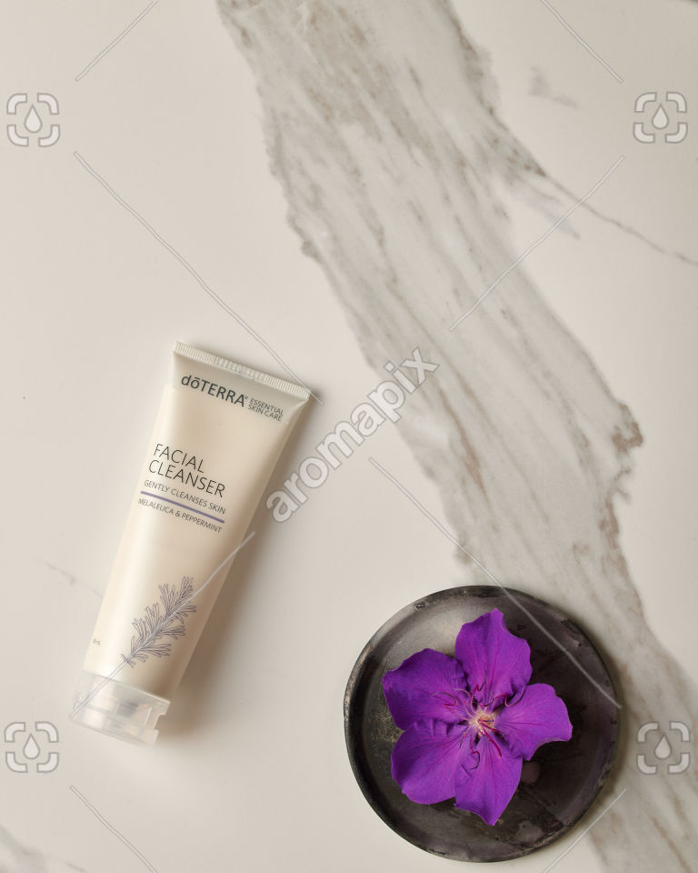 doTERRA Facial Cleanser on white marble