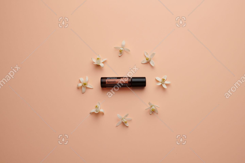 doTERRA Neroli Touch with orange blossoms on pale salmon orange background