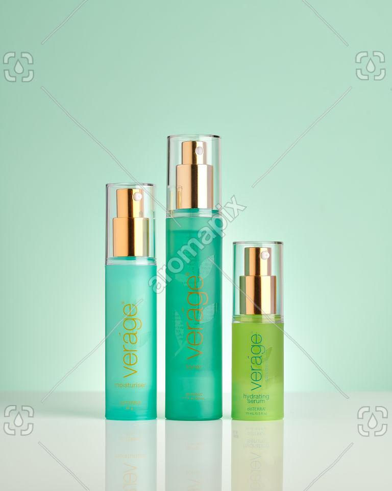 doTERRA Verage Moisturizer, Verage Toner and Verage Hydrating Serum on pale green
