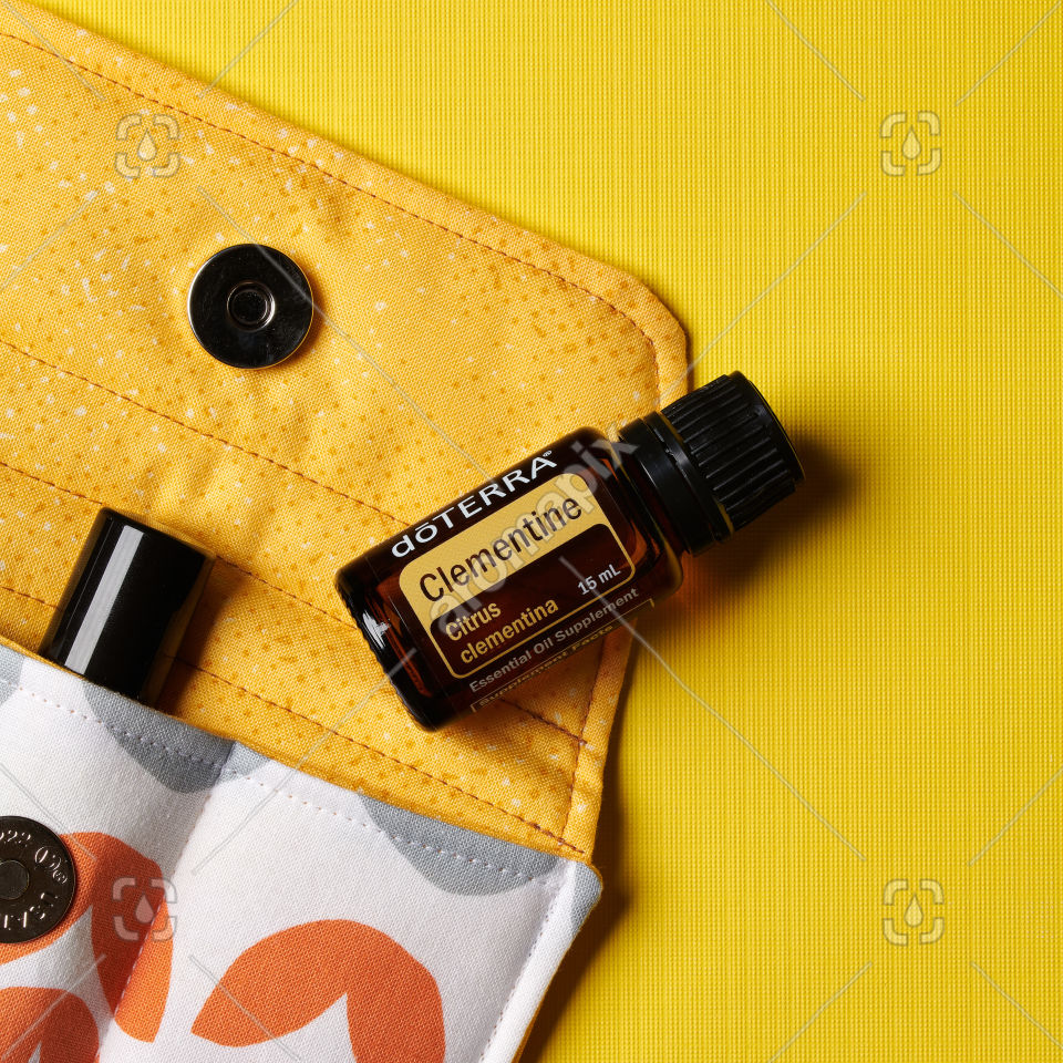 doTERRA Clementine essential oil on yellow