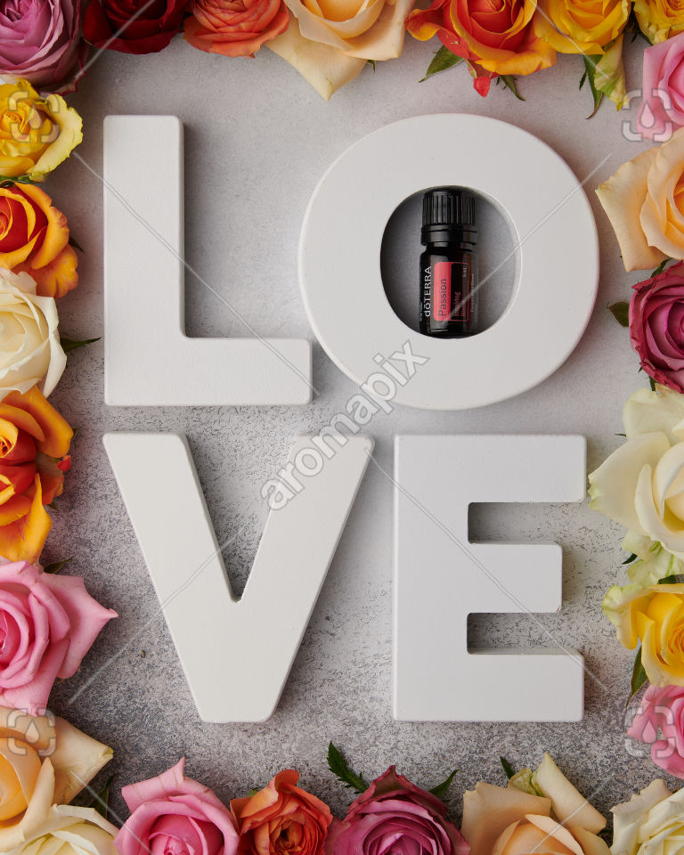 doTERRA Passion with L O V E letters on white