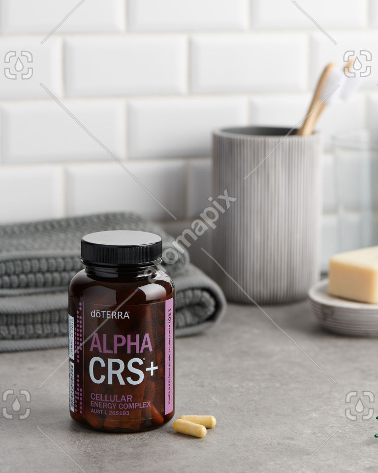 doTERRA Alpha CRS Capsules in the bathroom