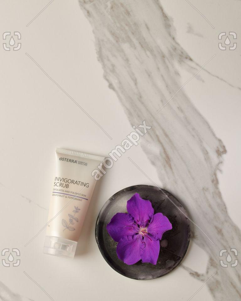 doTERRA Invigorating Scrub on white marble