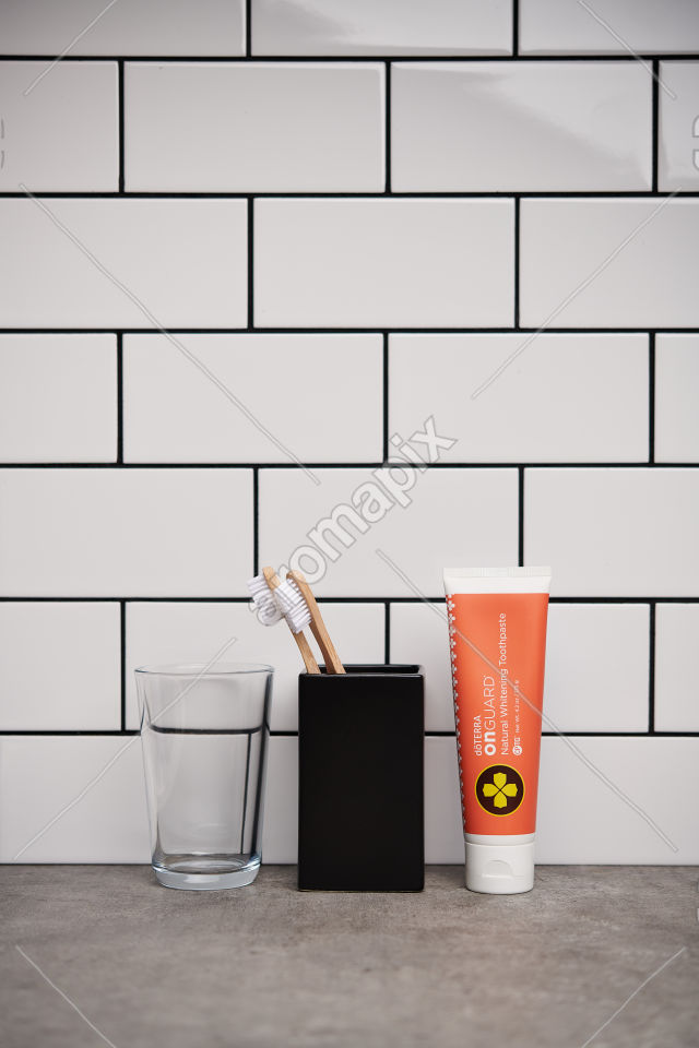 doTERRA On Guard Natural Whitening Toothpaste on bathroom benchtop