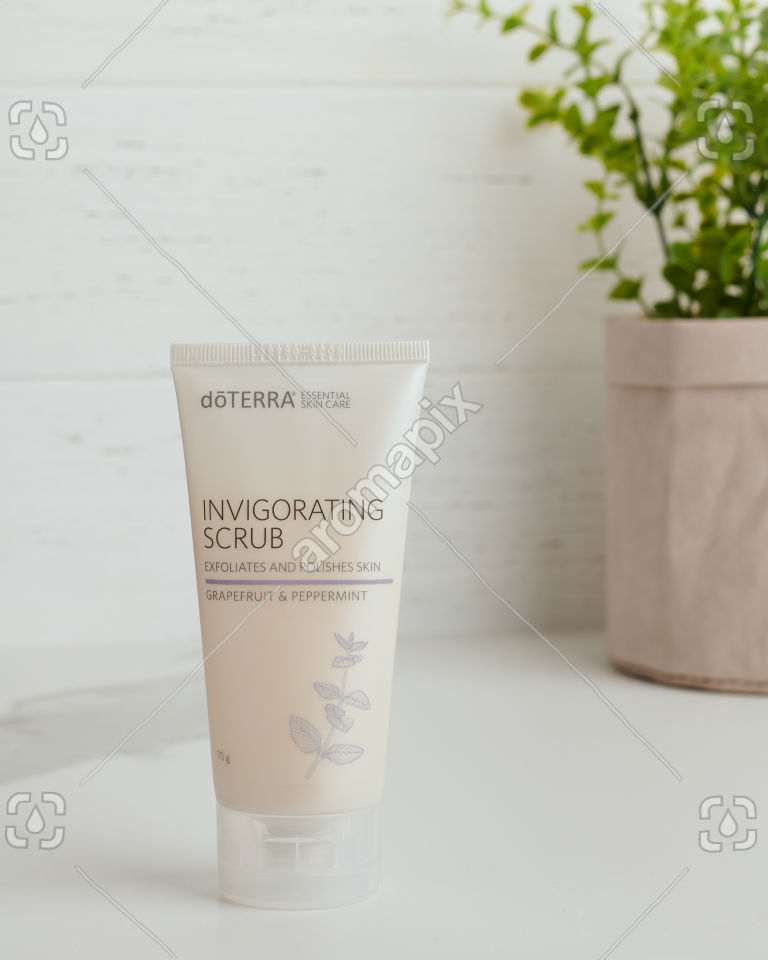 doTERRA Essential Skin Care Invigorating Scrub on white bench