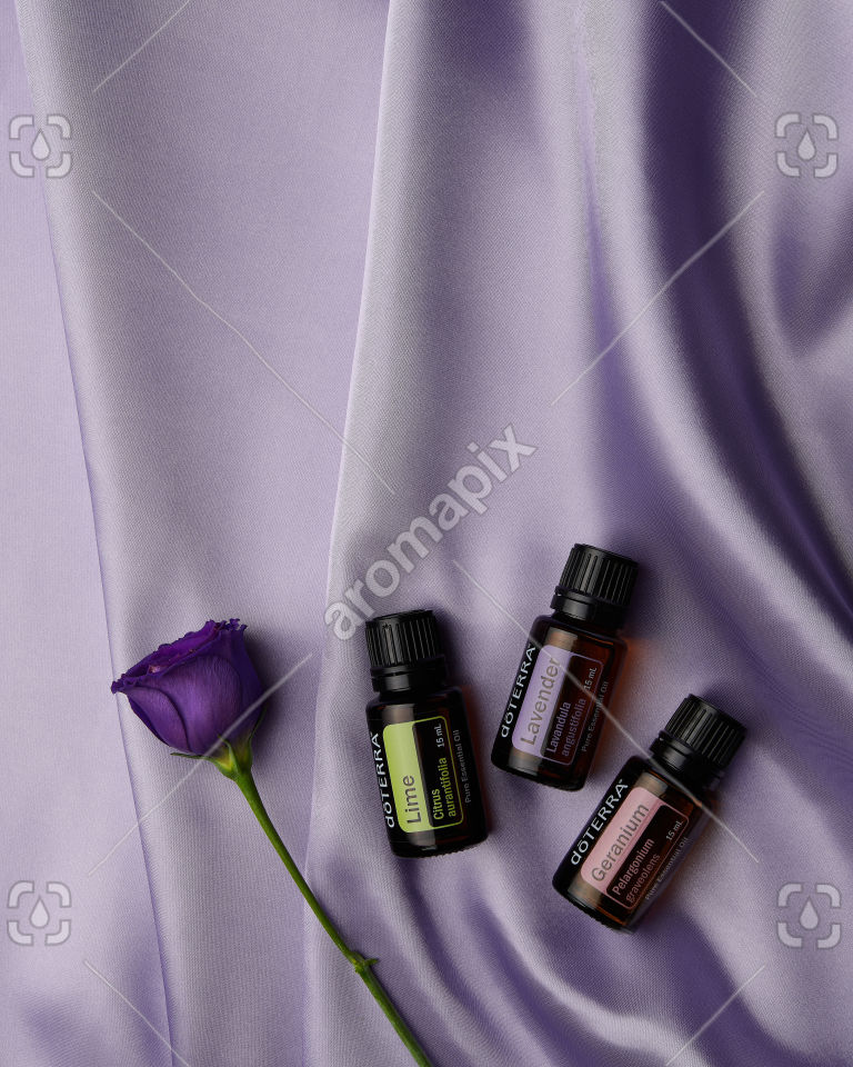 doTERRA Lime, Lavender and Geranium on purple