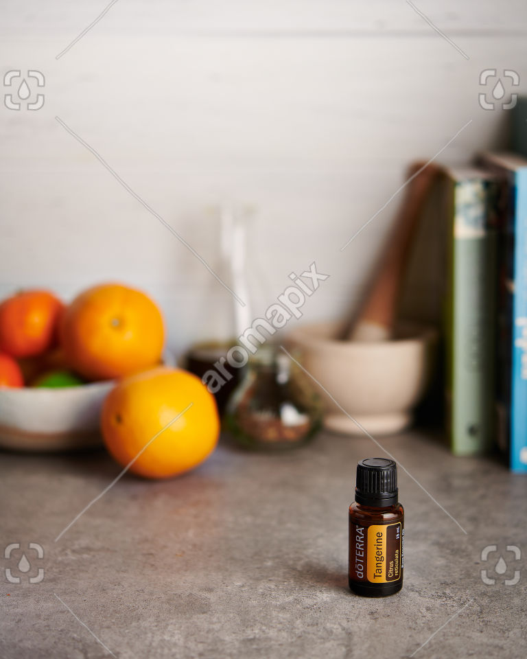 doTERRA Tangerine on a kitchen bench