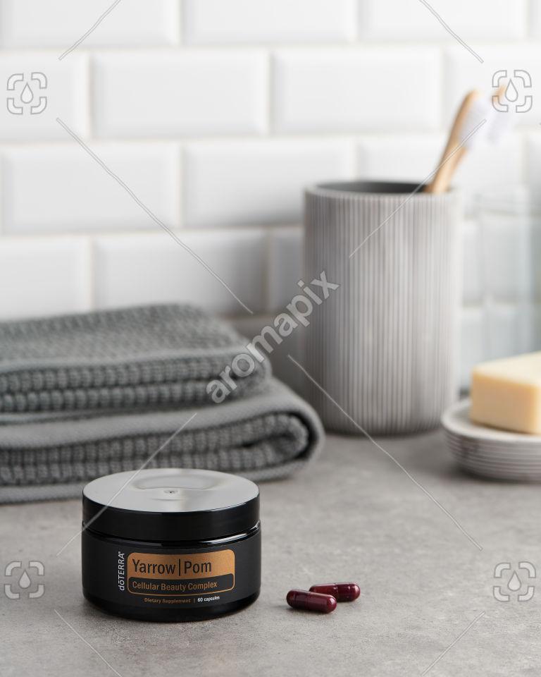 doTERRA Yarrow Pom capsules in the bathroom