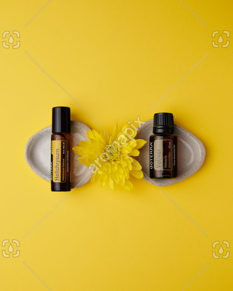 doTERRA Helichrysum Touch and Vetiver on yellow