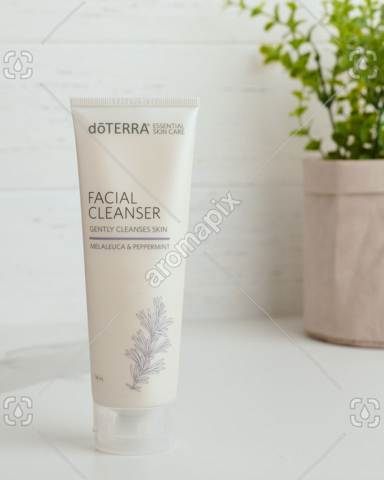 doTERRA Essential Skin Care Facial Cleanser on white bench