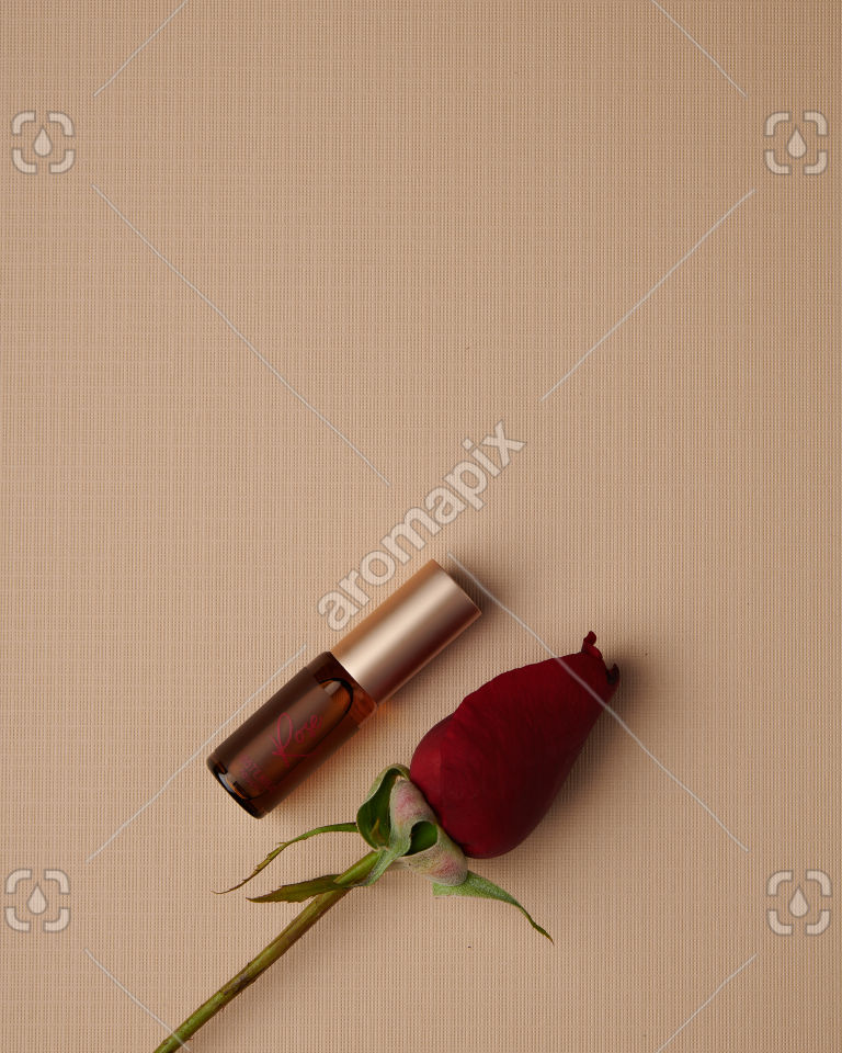 doTERRA Rose Touch 4ml and rose stem on tan