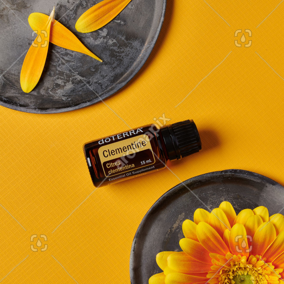 doTERRA Clementine on a ceramic plate on yellow
