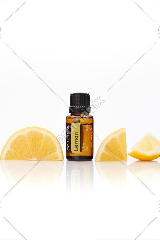 doTERRA Lemon with lemon on white