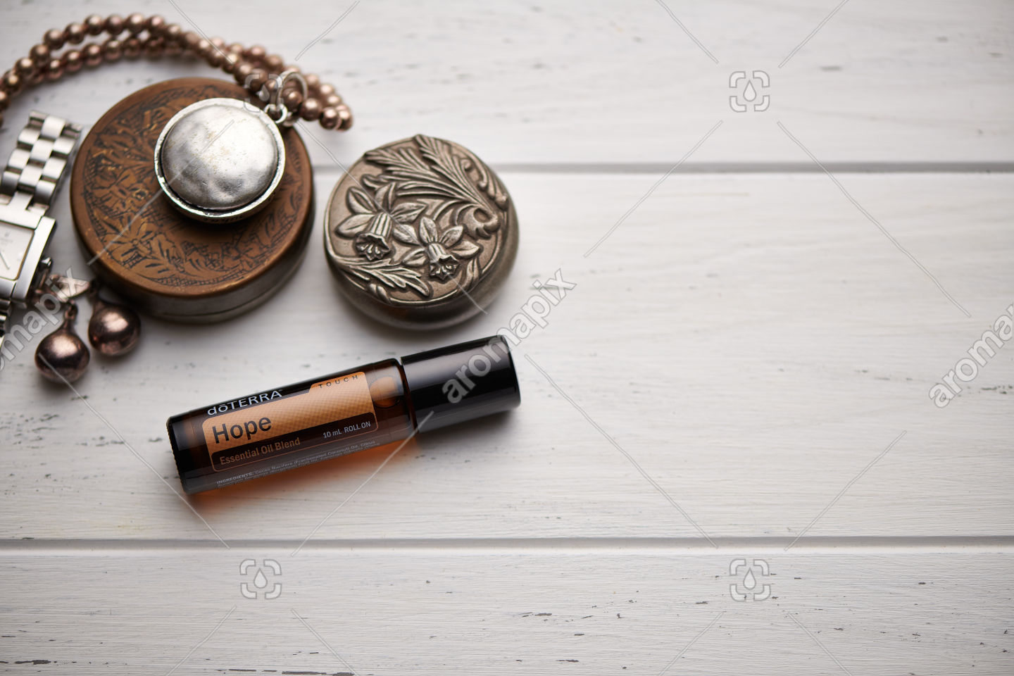 doTERRA Hope Touch on rustic background