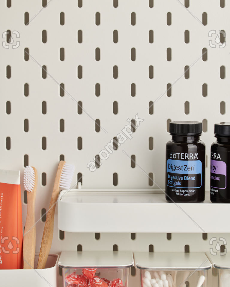 doTERRA DigestZen Softgels in bathroom