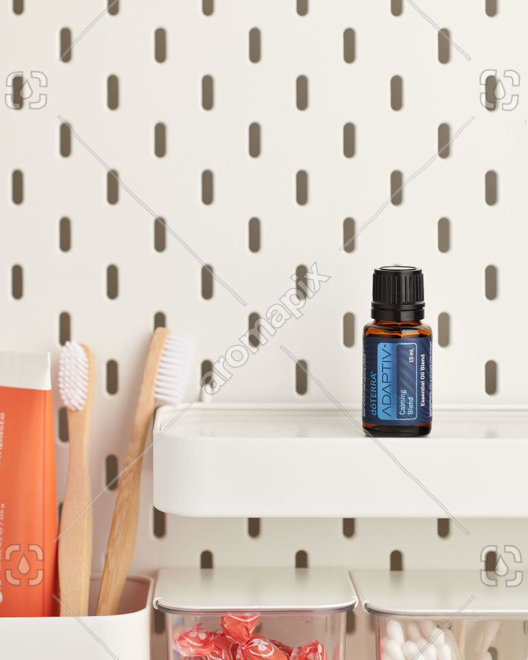 doTERRA Adaptive on a bathroom shelf