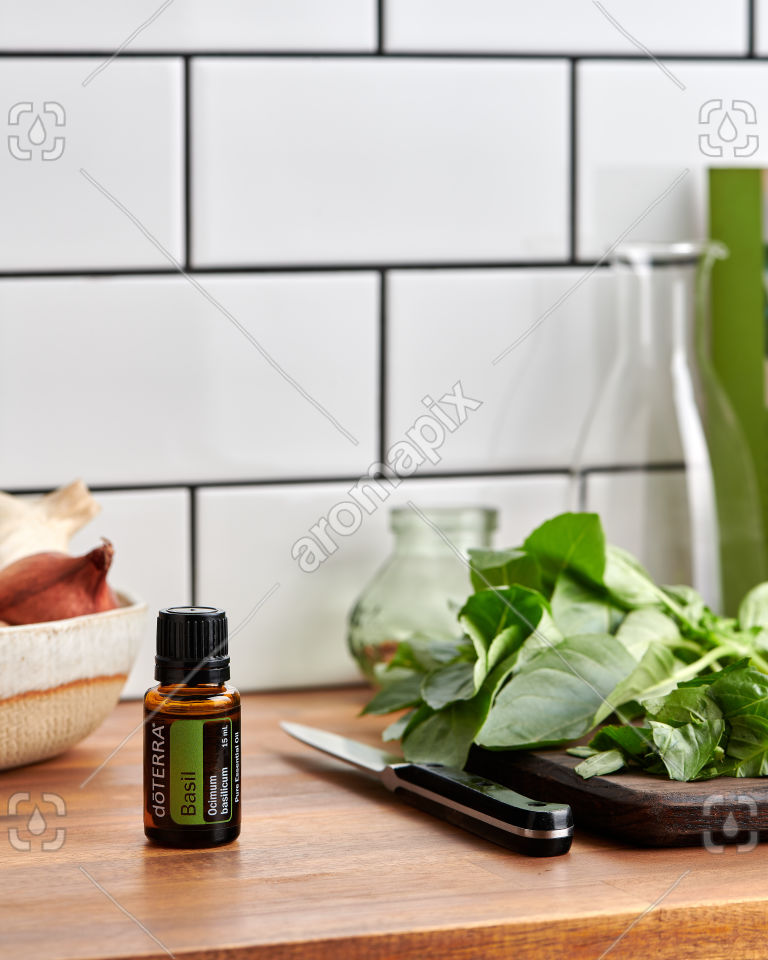 doTERRA Basil on a kitchen bench