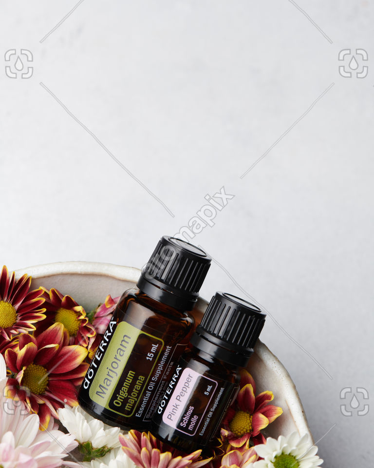 doTERRA Marjoram and Pink Pepper in a bowl
