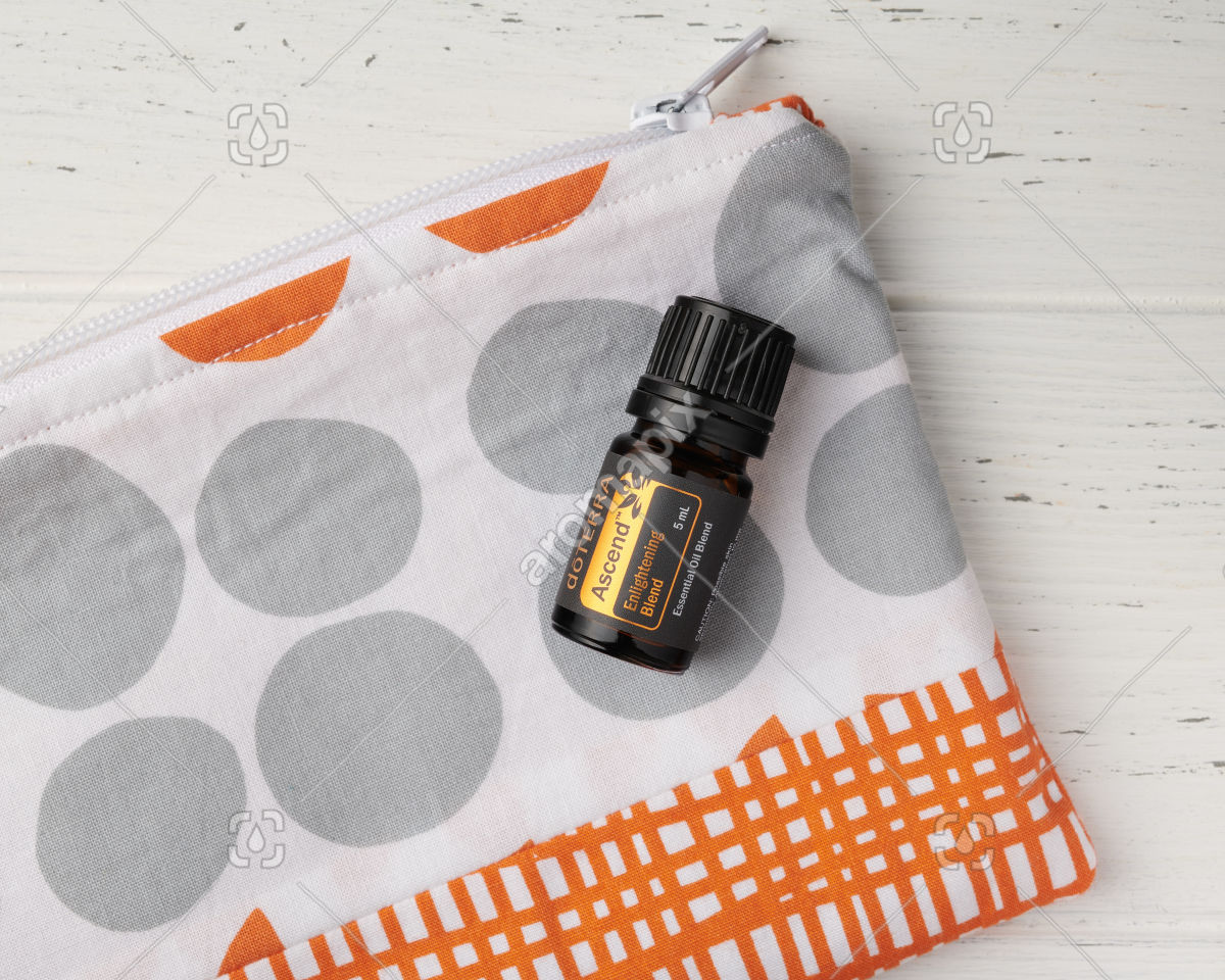 doTERRA Ascend in close up with essential oil bag on white
