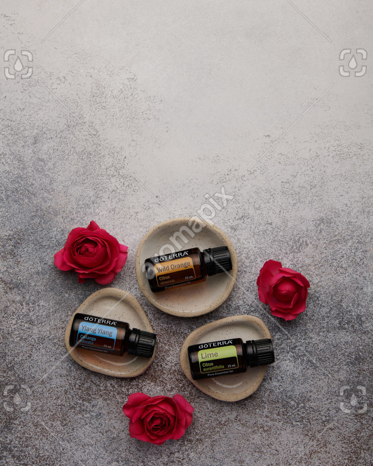 doTERRA Ylang Ylang, Wild Orange and Lime with roses on white