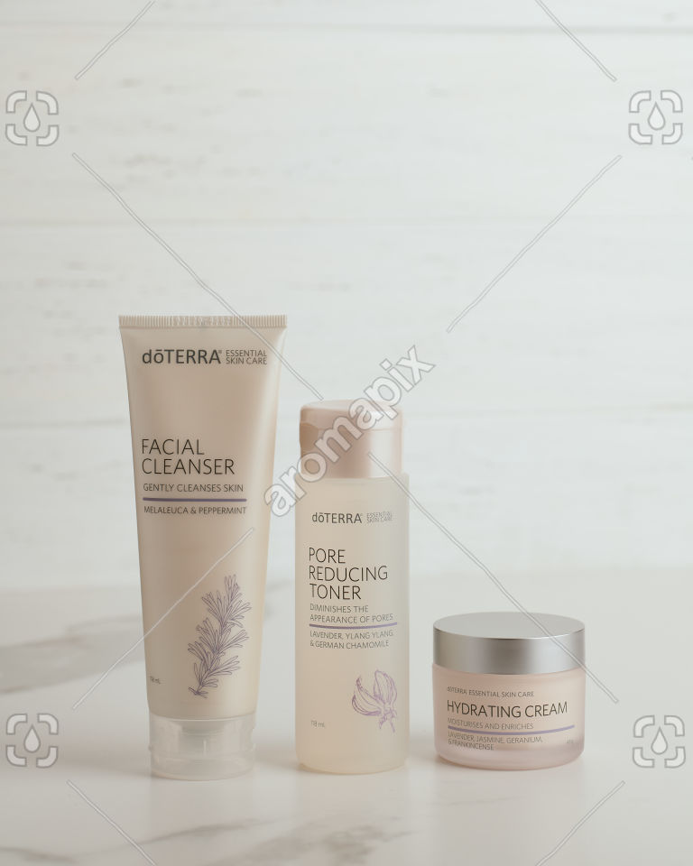 doTERRA Essential Skin Care Facial Cleanser, Pore Reducing Toner and Hydrating Cream on white