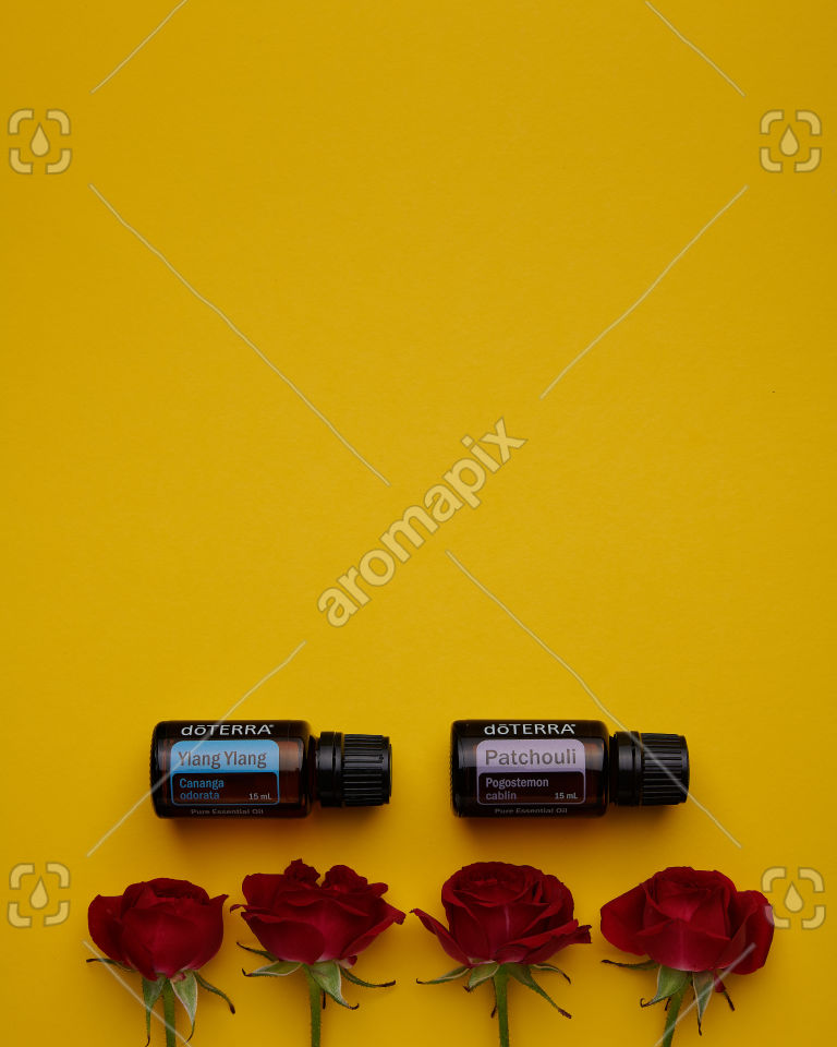 doTERRA Ylang Ylang and Patchouli with roses on yellow