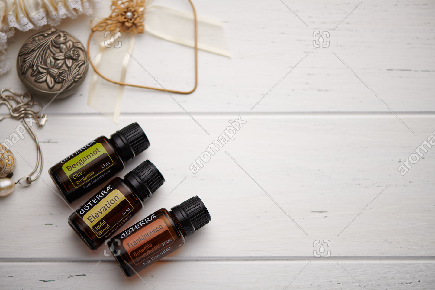 doTERRA Bergamot, Elevation and Frankincense on white background