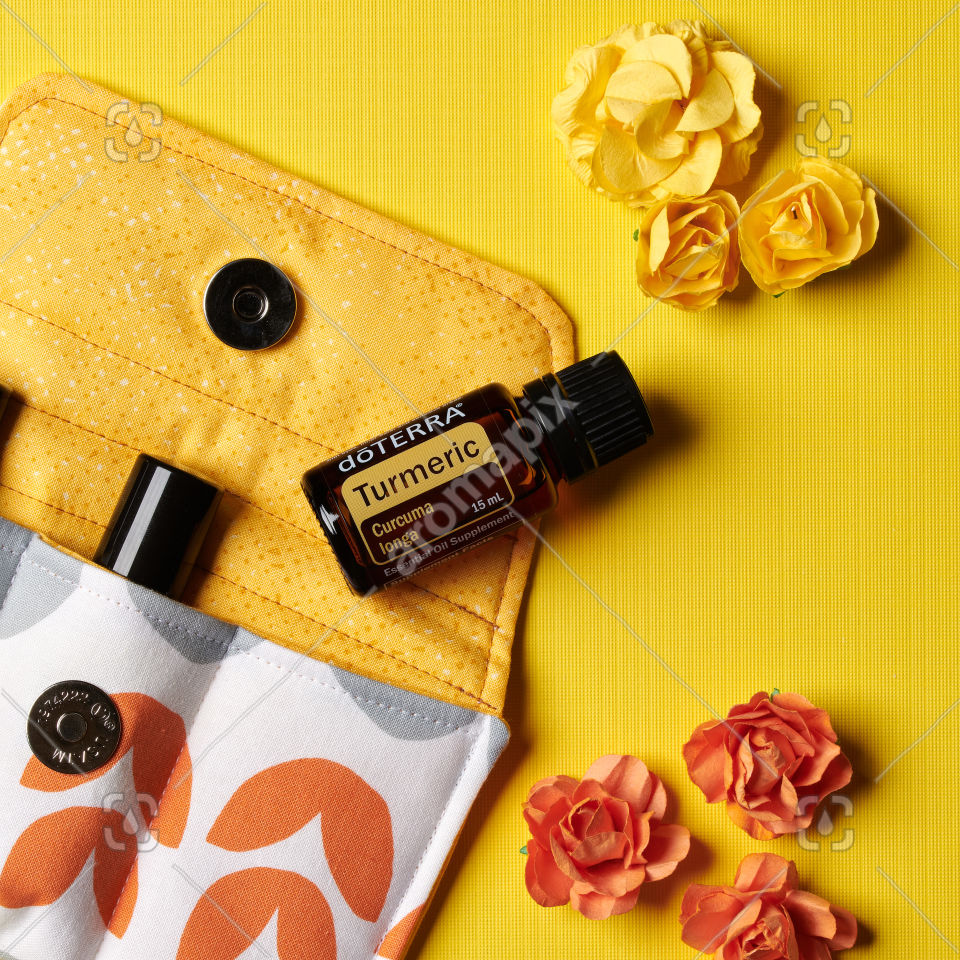 doTERRA Turmeric with flowers on yellow