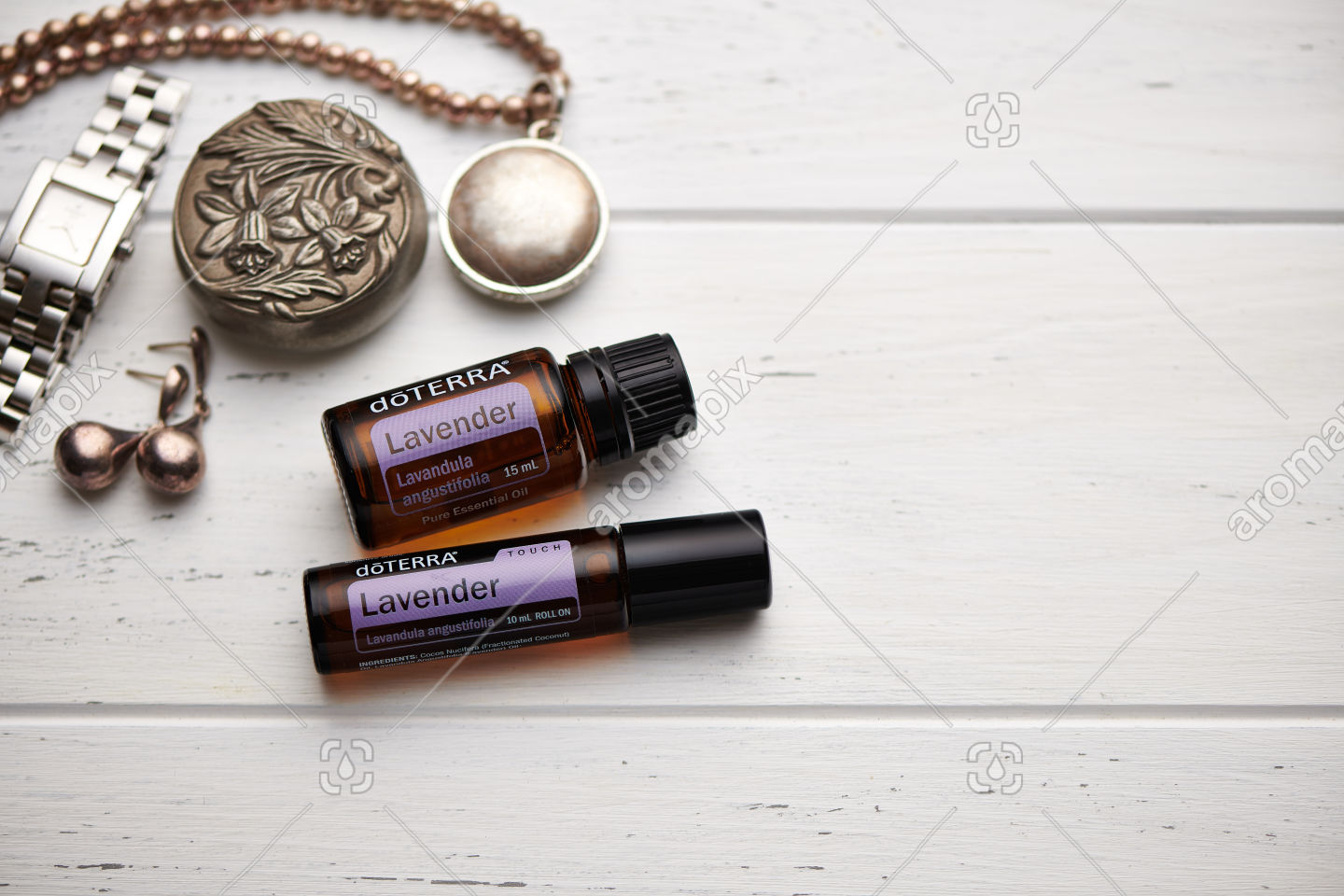 doTERRA Lavender and Lavender Touch on rustic background