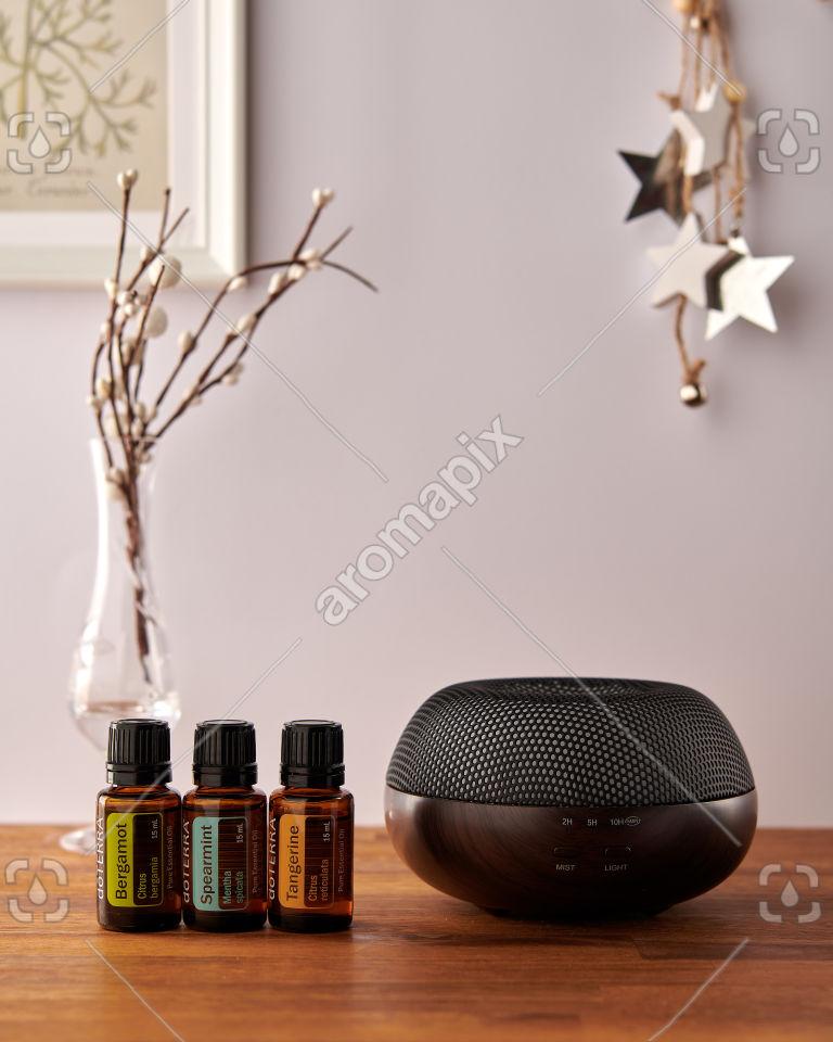 doTERRA Brevi Walnut diffuser with Bergamot, Spearmint and Tangerine