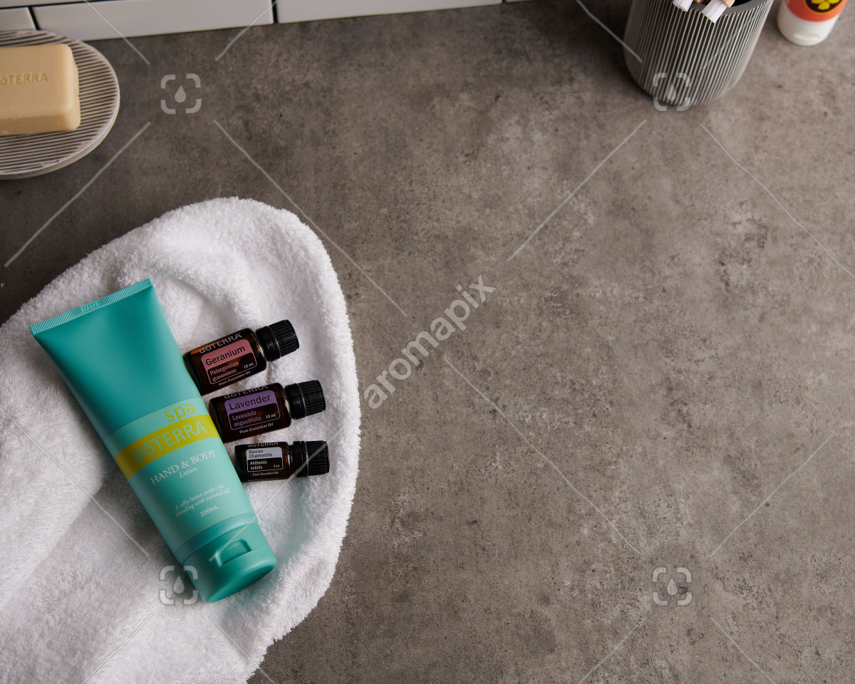 doTERRA Spa Hand and Body Lotion with Geranium, Lavender and Roman Chamomile essential oils on white