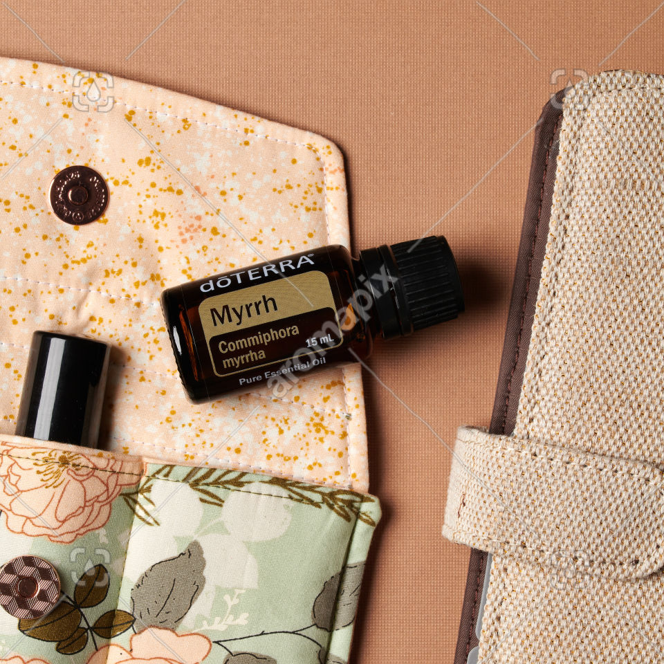 doTERRA Myrrh with accessories on brown